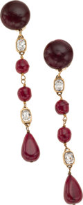 """Luxury Accessories:Accessories, Chanel Red Cabochan Crystal & Gold Drop Earrings. ExcellentCondition. 4.5"""" Length. ..."""