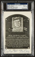 Autographs:Sports Cards, 1956-63 Artvue Type 2 Max Carey Hall of Fame Plaque Postcard PSA Mint 9....