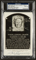 Baseball Collectibles:Others, 1956-63 Joe Cronin Signed Artvue Hall of Fame Plaque Postcard PSAMint 9....