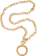 Luxury Accessories:Accessories, Chanel Gold Chain Necklace with Gold Ring Magnifier. ...