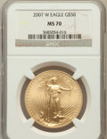 Modern Bullion Coins, 2007-W $50 One-Ounce Gold Eagle MS70 PCGS. PCGS Population (206).NGC Census: (1223). Numismedia Wsl. Price for problem fr...