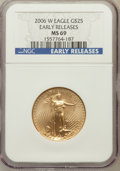 Modern Bullion Coins, 2006-W $25 Half Ounce Gold Eagle Early Releases MS69 NGC. NGCCensus: (2964/4283). PCGS Population (5226/1628). Numismedia...