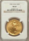 Modern Bullion Coins: , 1986 G$50 One-Ounce Gold Eagle MS69 NGC. NGC Census: (6191/394).PCGS Population (3150/21). Mintage: 1,362,650. Numismedia ...