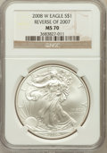 Modern Bullion Coins, 2008-W $1 Reverse of 2007 Silver Eagle MS70 NGC. NGC Census:(4147). PCGS Population (228). Numismedia Wsl. Price for prob...