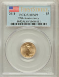 Modern Bullion Coins, 2011 G$5 Tenth-Ounce 25th Anniversary, First Strike MS69 PCGS. PCGSPopulation (1668/7526). Numismedia ...
