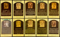 Autographs:Post Cards, Baseball Greats Signed Hall of Fame Plaque Postcards Lot of 10....