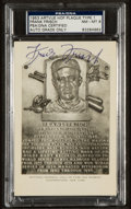 Baseball Collectibles:Others, Frank Frisch Signed Black and White Hall of Fame Plaque Postcard,PSA NM-MT 8. ...