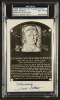 Baseball Collectibles:Others, Zach Wheat Signed Black and White Hall of Fame Plaque Postcard, PSANM-MT 8. ...