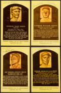 Baseball Collectibles:Others, Baseball Greats Signed Hall of Fame Plaque Postcards Lot of 4....