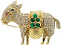 Estate Jewelry:Brooches - Pins, Diamond, Emerald, Sapphire, Ruby, Gold Brooch. ...