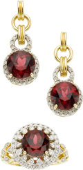Estate Jewelry:Suites, Garnet, Diamond, Gold Jewelry Suite. ...