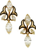 Estate Jewelry:Earrings, Diamond, Enamel, Gold Earrings. ...
