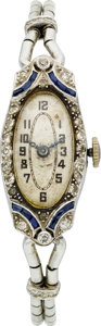 Estate Jewelry:Watches, Art Deco Lady's Diamond, Synthetic Sapphire, Platinum Wristwatch. ...
