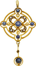 Estate Jewelry:Pendants and Lockets, Sapphire, Seed Pearl, Gold Pendant. ...