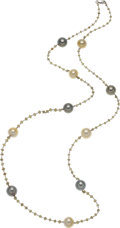 Estate Jewelry:Necklaces, South Sea Cultured Pearl, Colored Diamond, White Gold Necklace. ...