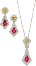 Estate Jewelry:Suites, Rubellite Tourmaline, Sapphire, Colored Diamond, Diamond, WhiteGold Jewelry Suite, Simon G.. ... (Total: 2 Items)