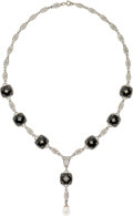 Estate Jewelry:Necklaces, Black Onyx, Diamond, Cultured Pearl, White Gold Necklace. ...