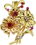 Estate Jewelry:Brooches - Pins, Red Stone, Diamond, Gold Brooch. ...