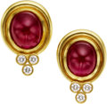 Estate Jewelry:Earrings, Ruby, Diamond, Gold Earrings, Julius Cohen. ...