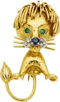 Estate Jewelry:Brooches - Pins, Diamond, Sapphire, Emerald, Gold Brooch. ...