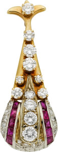 Estate Jewelry:Brooches - Pins, Diamond, Ruby, Platinum, Gold Pendant-Brooch. ...