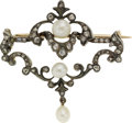 Estate Jewelry:Brooches - Pins, Georgian Cultured Pearl, Diamond, Silver-Topped Gold Brooch. ...
