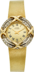 Estate Jewelry:Watches, Lucien Piccard Lady's Gold, Diamond, Integral Bracelet Wristwatch....