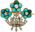 Estate Jewelry:Brooches - Pins, Victorian Diamond, Turquoise, Platinum-Topped Gold Brooch. ...