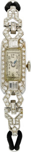 Estate Jewelry:Watches, Art Deco Swiss Lady's Diamond, Platinum, Cord Wristwatch. ...