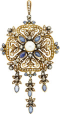 Estate Jewelry:Brooches - Pins, Antique Diamond, Sapphire, Cultured Pearl, Silver-Topped GoldPendant-Brooch. ...