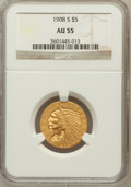 Indian Half Eagles: , 1908-S $5 AU55 NGC. NGC Census: (74/345). PCGS Population (33/340).Mintage: 82,000. Numismedia Wsl. Price for problem free...