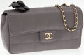 Luxury Accessories:Bags, Chanel Pewter Satin Mini Camellia Flower Evening Bag with LongChain Strap. ...