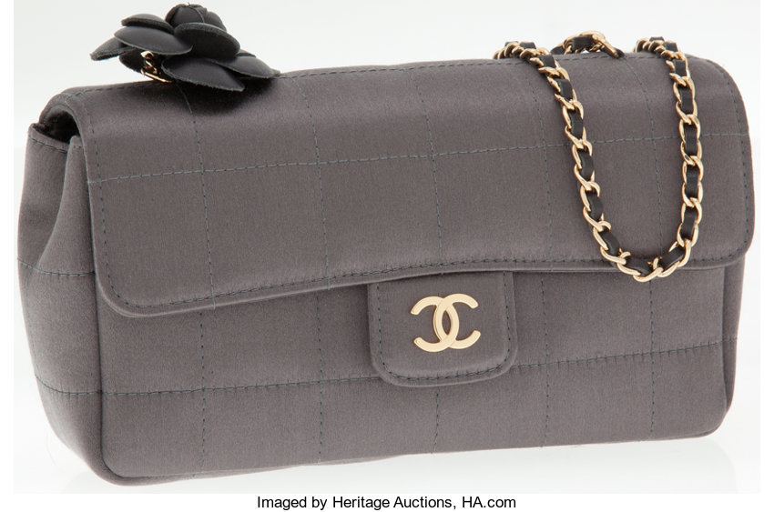 a18bbdb47e79 ... Luxury Accessories:Bags, Chanel Pewter Satin Mini Camellia Flower  Evening Bag with LongChain Strap ...