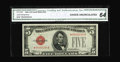 Small Size:Legal Tender Notes, Fr. 1528* $5 1928C Legal Tender Note. CGA Choice Uncirculated 64.. Star note examples of this issue are quite scarce in CU. ...