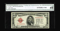 Small Size:Legal Tender Notes, Fr. 1529* $5 1928D Legal Tender Note. CGA Extremely Fine 45.. No single fold that accounts for the grade is significant, mak...