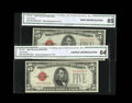 Small Size:Legal Tender Notes, Fr. 1531 $5 1928F Legal Tender Notes. Narrow/Wide I Changeover Pair CGA Choice Uncirculated 64/65.. The Wide I note carries ... (Total: 2 notes)