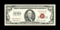 Small Size:Legal Tender Notes, Fr. 1550* $100 1966 Legal Tender Note. About Uncirculated.. Wide margins and a dark red overprint are displayed by this ligh...