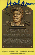 Autographs:Post Cards, Hank Aaron Signed Gold Hall of Fame Plaque. Hammerin' Hank has left a booming signature spanning across the gold Hall of Fa...