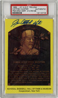 Autographs:Post Cards, Jim Catfish Hunter Signed Gold Hall of Fame Plaque, PSA Authentic.Sparkling example of the gold Hall of Fame plaque postca...