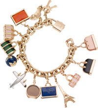 Louis Vuitton 18K Yellow Gold World Travel Charm Bracelet with Lock, Key and Twelve Diamond, Onyx, Lapis & Topaz Cha...