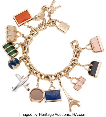 Louis Vuitton 18K Yellow Gold World Travel Charm Bracelet with Lock, Key and Twelve Diamond, Onyx, Lapis & Topaz Charms, ...