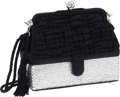 Luxury Accessories:Bags, Judith Leiber Black Satin and Half Bead Evening Bag with ShoulderStrap and Secret Compartment. ...
