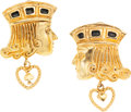 Luxury Accessories:Accessories, Isabel Canovas Sir Lancelot Gold Earrings. ...