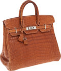 Luxury Accessories:Bags, Hermes 32cm Matte Fauve Nilo Crocodile HAC Birkin Bag withPalladium Hardware. ...