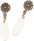 Luxury Accessories:Accessories, Isabel Canovas Silver Flower and Lucite Drop Earrings. ...