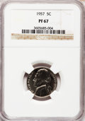 Proof Jefferson Nickels: , 1957 5C PR67 NGC. NGC Census: (657/567). PCGS Population (569/113).Mintage: 1,247,952. Numismedia Wsl. Price for problem f...