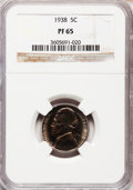 Proof Jefferson Nickels: , 1938 5C PR65 NGC. NGC Census: (307/626). PCGS Population(764/1022). Mintage: 19,365. Numismedia Wsl. Price for problemfre...