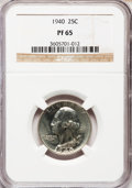 Proof Washington Quarters: , 1940 25C PR65 NGC. W/P. NGC Census: (391/723). PCGS Population(725/772). Mintage: 11,246. Numismedia Wsl. Price for probl...