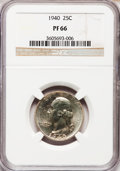 Proof Washington Quarters: , 1940 25C PR66 NGC. NGC Census: (504/219). PCGS Population(616/156). Mintage: 11,246. Numismedia Wsl. Price for problemfre...