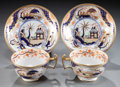 Ceramics & Porcelain, TWO ENGLISH PORCELAIN JAPAN PATTERN TEA CUPS AND SAUCERS. Maker unknown, probably Stoke-on-Trent, England, circa 1815. Unmar...